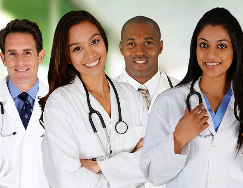 A line of doctors and nurses.
