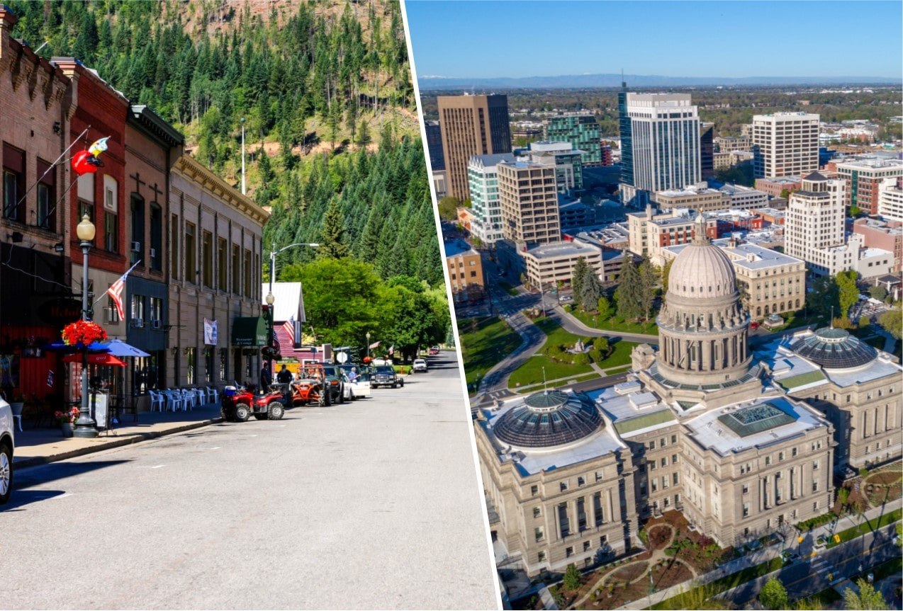 Two photos. One is an aerial photo of City of Boise with the Capitol in the foreground. The other is a photo of the City of Wallace, Idaho.