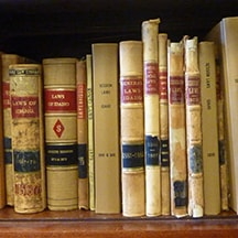 Old session law books in the Legislative Library.