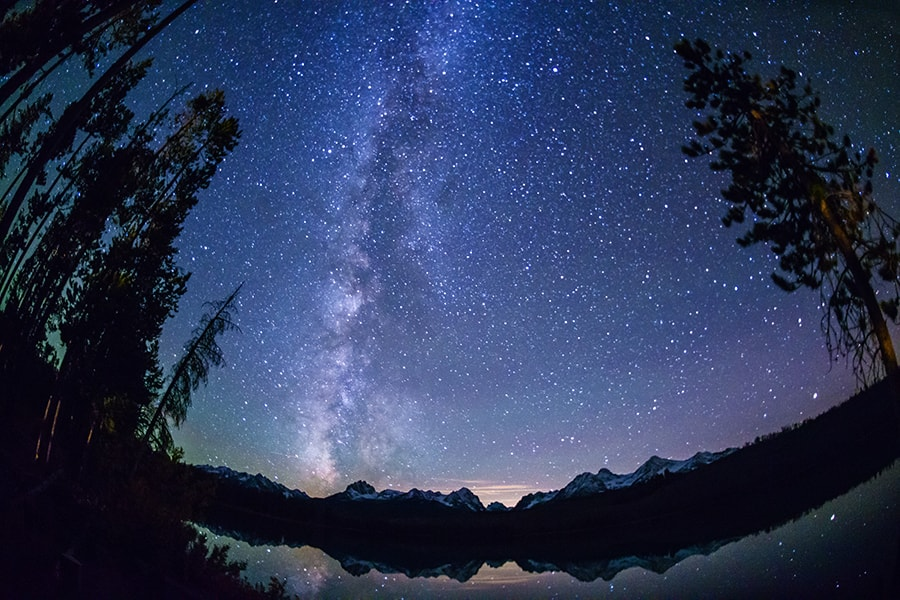 The night sky above Redfish Lake.